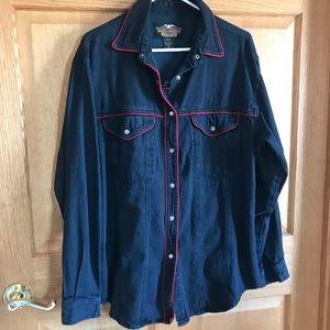 Harley Davidson, Black denim shirt size Large